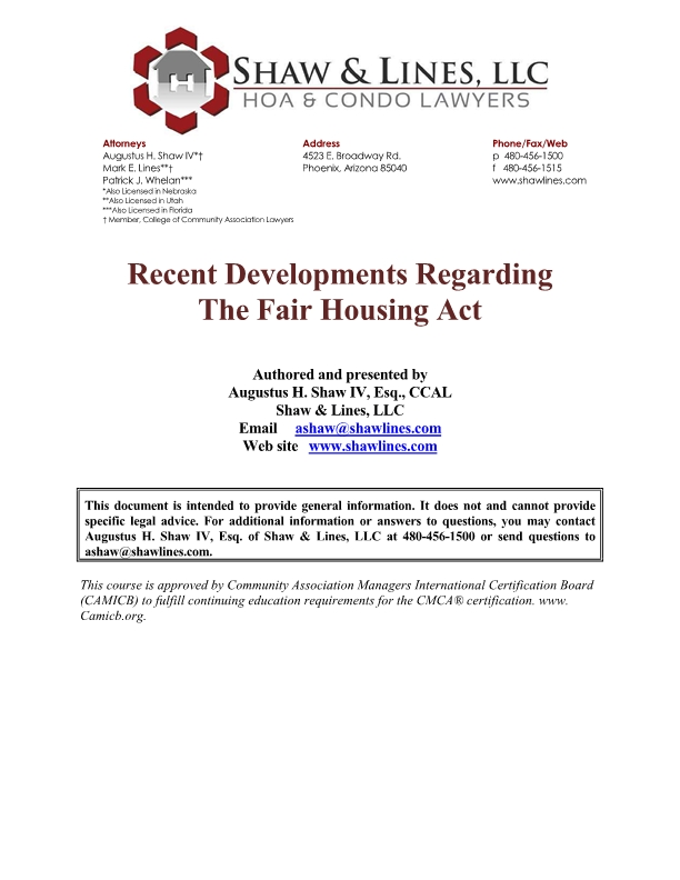 Recent Developments Regarding the Fair Housing Act