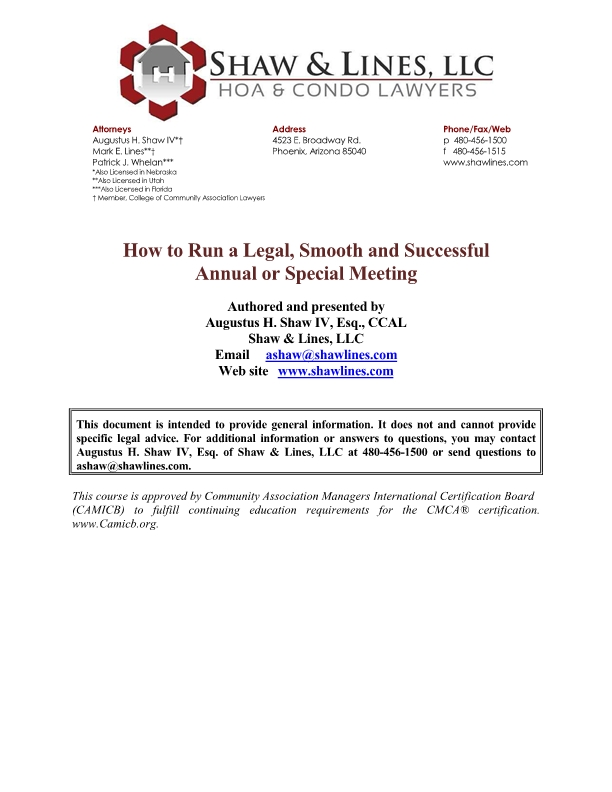How to Run a Legal, Smooth and Successful Annual or Special Meeting