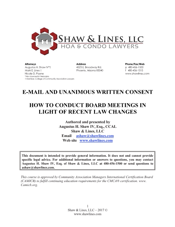 E-Mail and Unanimous Written Consent