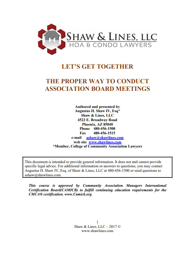 Let's Get Together - The Proper Way to Conduct Association Board Meetings