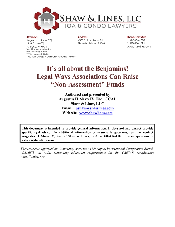 Its All About the Benjamins! Legal Ways Associations Can Raise Non-Assessment Funds